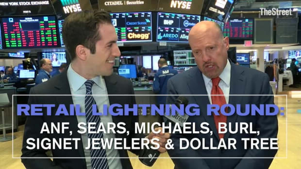 Jim Cramer Reacts to Abercrombie, Sears, Michaels, Burlington, Signet Jewlers and Dollar Tree Earnings