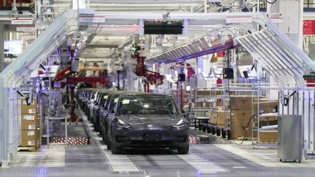 Tesla vehicles on an assembly line at its Gigafactory in Shanghai on Tuesday, January 7, 2020. Photo: Xinhua via AP