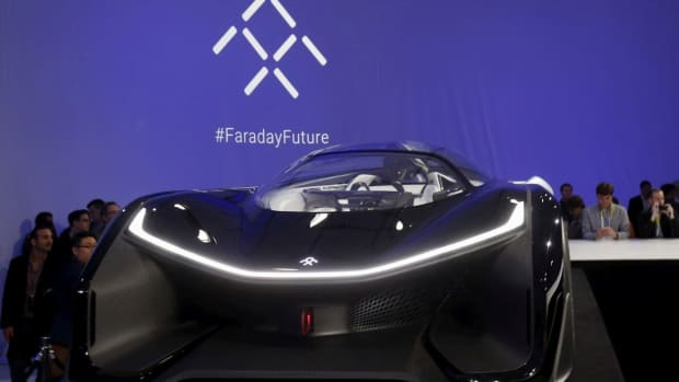 The Faraday Future FFZERO1 electric concept car is shown after an unveiling at a news conference in Las Vegas, on January 4, 2016. Photo: Reuters