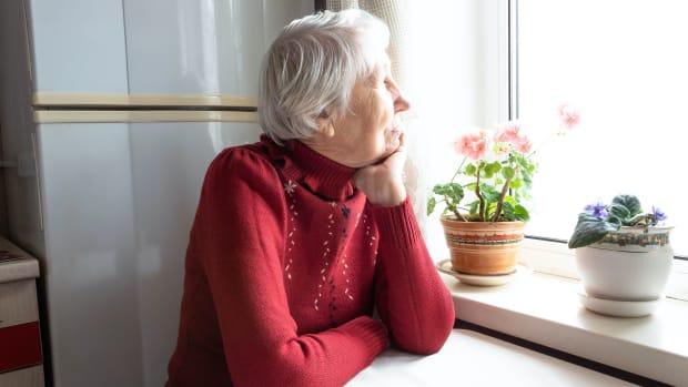 isolated senior retiree woman sh