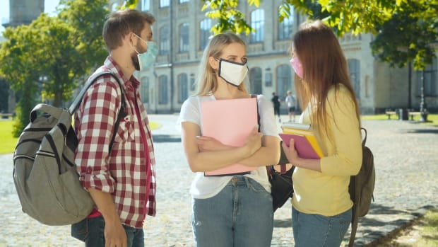 College Students with masks