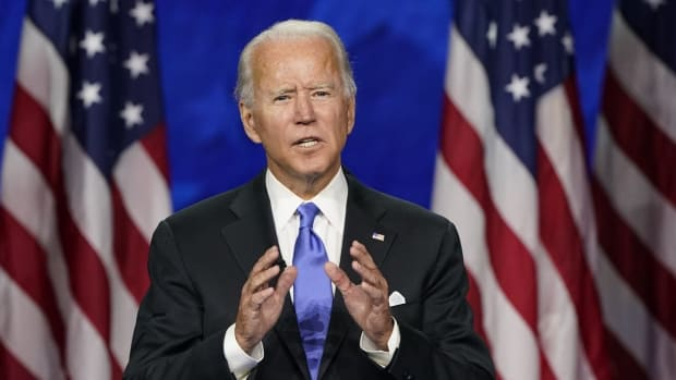 Former US vice-president Joe Biden accepting the Democratic Party presidential nomination on August 20. Photo: AP