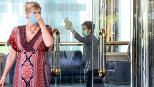 Staff carry out cleaning at the JW Marriott Hotel in Admiralty. Photo: Dickson Lee