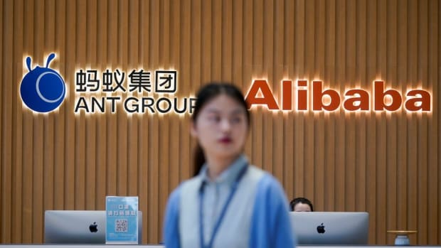 Logos of Ant Group and Alibaba at the headquarters of Ant Group in Hangzhou, Zhejiang province. Photo: Reuters