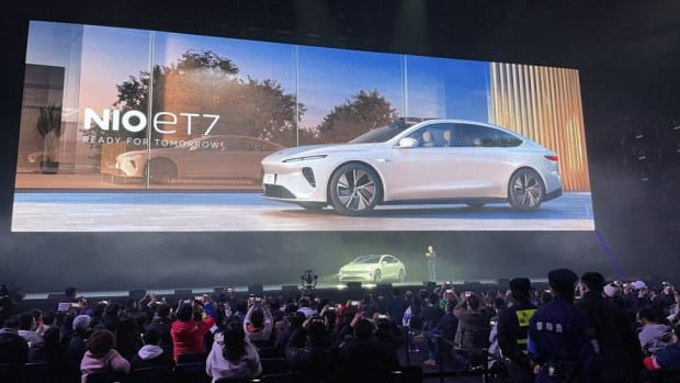 William Li Bin, chief executive of NIO, on stage during the launch of the carmaker's ET7 sports-utility vehicle in the Sichuan provincial capital of Chengdu on Saturday. Photo: Daniel Ren