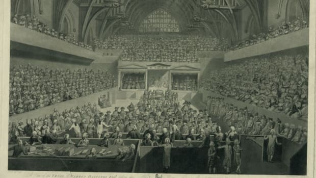 The impeachment trial of Warren Hastings in 1788. Library of Congress