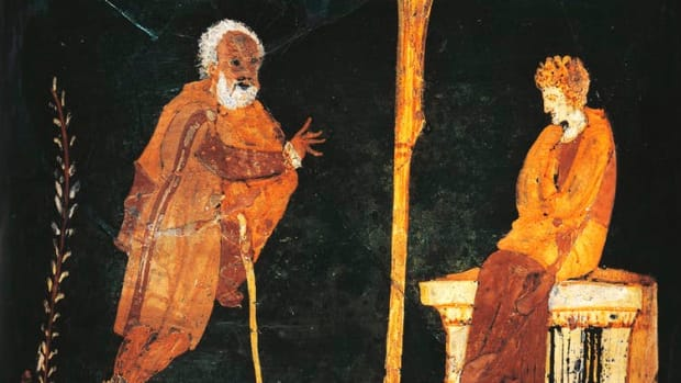 A vase from ancient Greek civilization depicts Apollo consulting the oracle of Delphi. G.