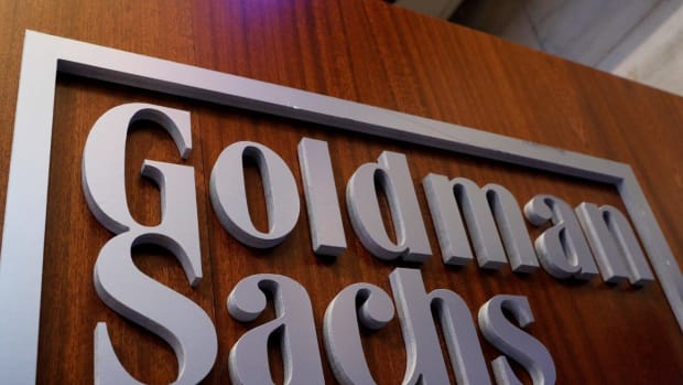 A Goldman Sachs sign is displayed inside the company's post on the floor of the New York Stock Exchange (NYSE) on April 18, 2017. Photo: Reuters
