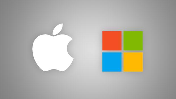 Apple and Microsoft logo.