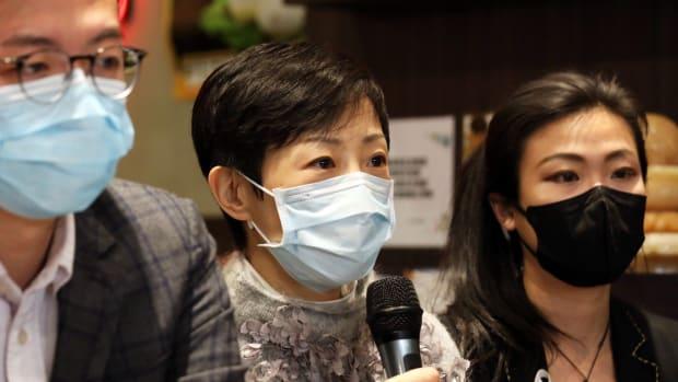 Legislator Tanya Chan speaks a press conference on the coronavirus affect on Hong Kong restaurants. Photo: Xiaomei Chen