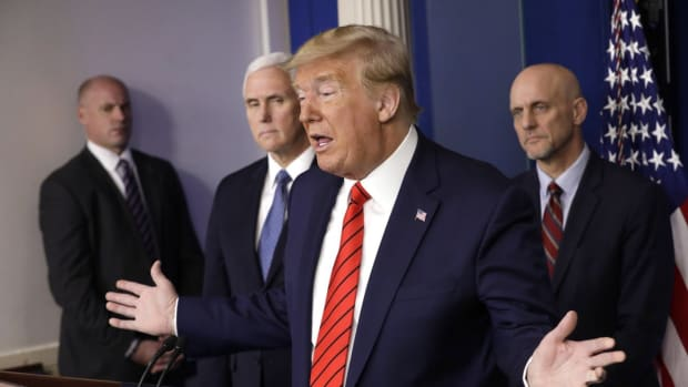 US President Donald Trump during a briefing on the coronavirus pandemic at the White House on Thursday. Photo: EPA-EFE
