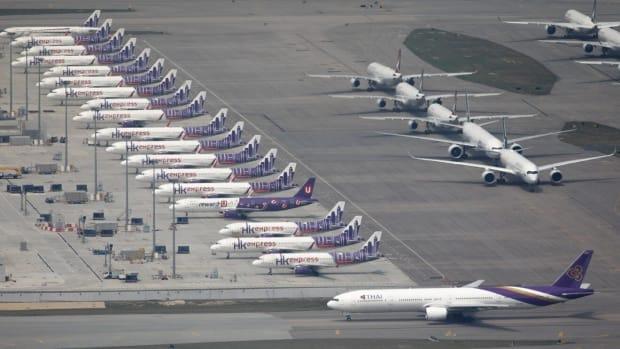 Parked aeroplanes at Hong Kong International Airport. Photo: Robert Ng