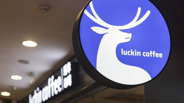 A sign for Luckin Coffee is displayed at one of the company's outlets in Shanghai on April 3. Photo: Bloomberg
