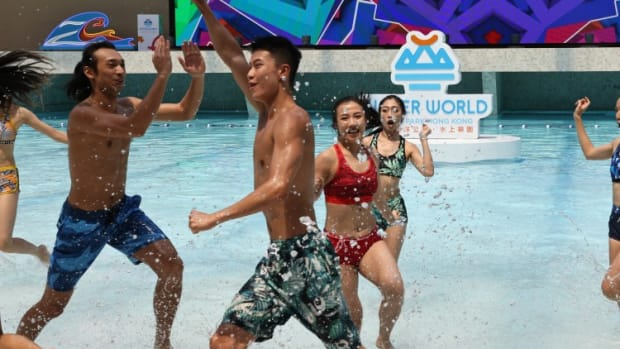 Hong Kong's New Water Park Opens To Public, With Hundreds Taking Advantage Of Hot Weather To Dive Into The Experience