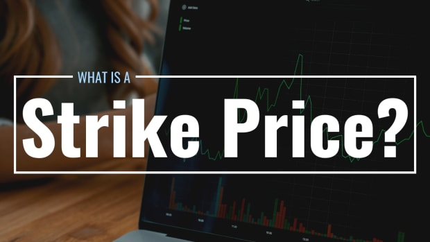 """Photo of an open laptop displaying a stock price graph with text overlay that reads """"What Is a Strike Price?"""""""