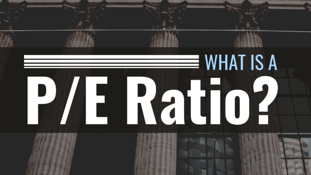 """Photo of the NYSE building with text overlay that reads """"What Is a P/E Ratio?"""""""