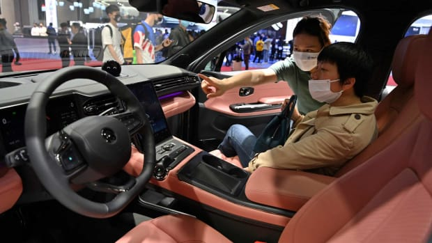 The interior of Nio's eC6 electric car during the 19th Shanghai International Automobile Industry Exhibition in Shanghai on April 19, 2021. Photo: AFP