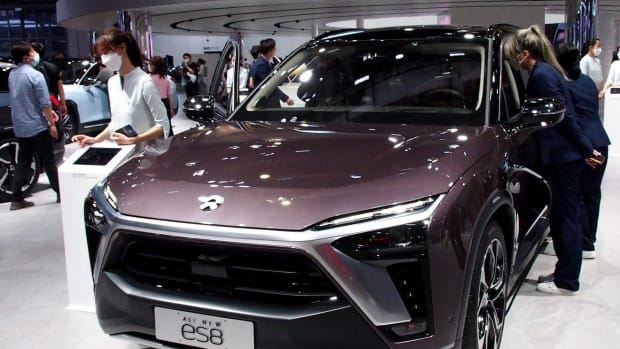 A NIO ES8 electric SUV is displayed at the Shanghai car show in April. Photo: Xinhua