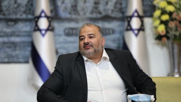 Mansour Abbas, Israeli Arab politician and leader of the Ra'am Party, in a meeting at the Israeli president's residence in Jerusalem on April 5, 2021. Abir Sultan/Pool/ AFP/Getty Images