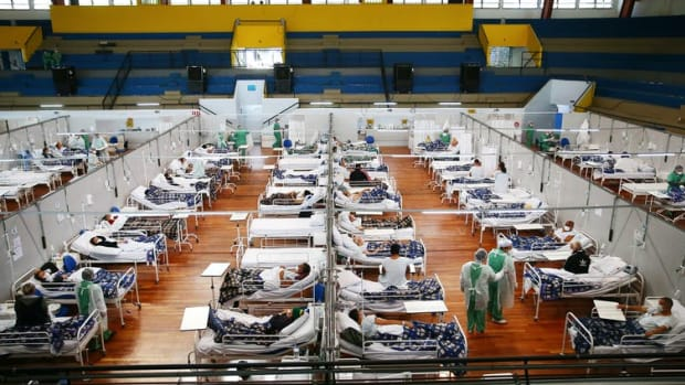 A COVID-19 field hospital in Santo Andre, Brazil. The pandemic has killed over 503,000 people in Brazil; just 11% of the population is fully vaccinated. Mario Tama/Getty Images