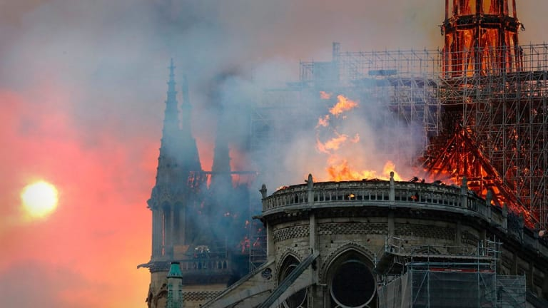 Famed Notre Dame Cathedral in Paris on Fire