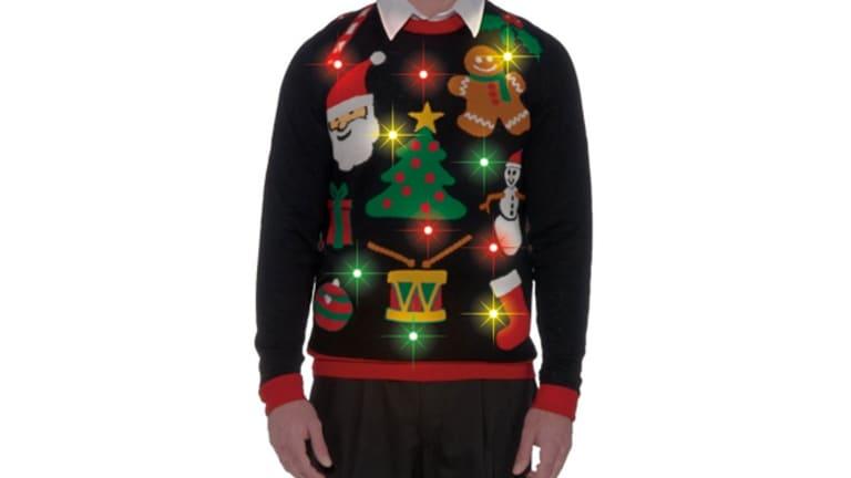 Alex Stevens Boys Stegosaurus Santa Ugly Christmas Sweater