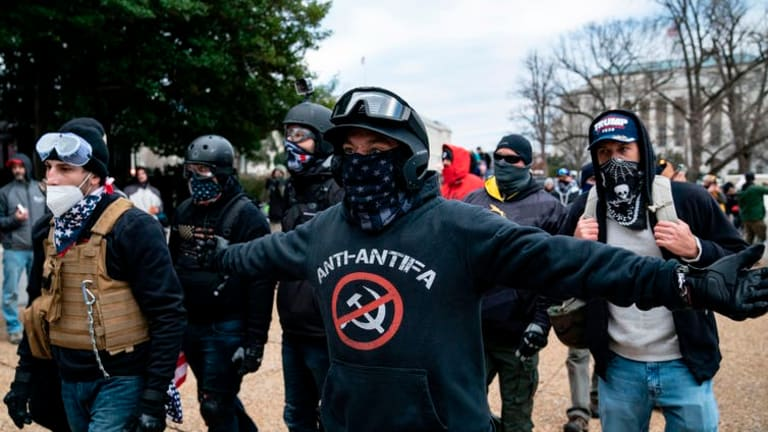 The far-right rioters at the Capitol were not antifa – but violent groups often blame rivals for unpopular attacks