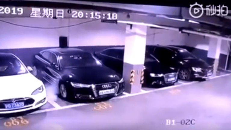 Shocking Video Shows Parked Tesla Spontaneously Exploding In Chinese Garage