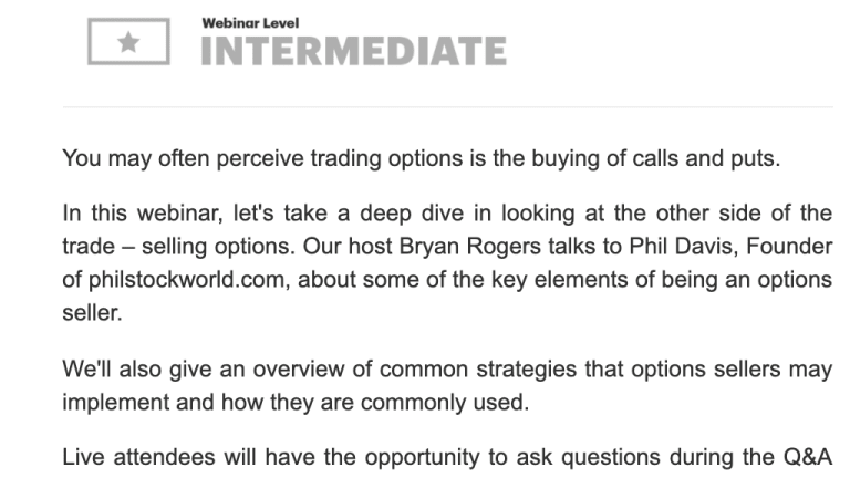 Live Webinar with Phil on Option Strategies