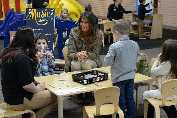 """Melania Trump enjoyed a high-profile modeling career starting at the age of 16. In April 2010, she launched her own jewelry collection. Now, as first lady, she is involved with several charities, including the Martha Graham Dance Company, the Boys Club of New York, and the American Red Cross. Her spokesperson told Vogue magazine in October that """"...her focus is the overall well-being of children. This can include many things, including drug addiction, poverty, disease, trafficking, hunger, or teaching children the values of empathy and communication, which are at the core of kindness, mindfulness, integrity, and leadership.""""Above, Trump speaks with children at the Joint Base Elmendorf-Richardson, Alaska, Nov. 10, 2017.Photo: Master Sgt. Joshua Jasper"""