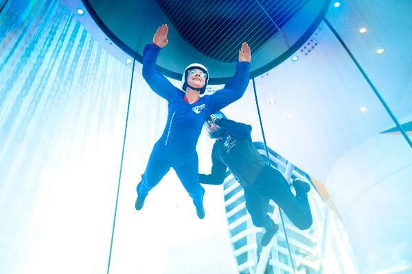Skydiving Well, not exactly. Royal Caribbean's ship, Quantum of the Seas, has a skydiving simulator, an air machine that keeps you afloat as if you were falling from an airplane. It's got a view of the surfing simulator, too.Photo: Royal Caribbean