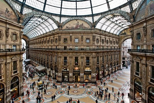 MilanBesides being one of the fashion capitals of the world, Milan is home to the world's oldest existing shopping mall, the Galleria Vittorio Emanuele, (pictured) completed in 1877 in Art Nouveau style. The city's golden shopping rectangle is loaded with expensive, trendy shops, with haute couture names like Versace, Prada , Chanel, Louis Vuitton  and Gucci. Trip Advisor suggests: bring money and dress the part.Photo: pcruciatti / Shutterstock