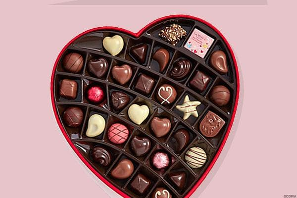 Godiva 14-Piece Valentine's Day Heart Chocolate Gift BoxClassy and romantic, the Godiva heart-shaped box of assorted chocolates has everything you need for the end of a lovely Valentine's Day evening: a classic floral design, and a varied assortment of chocolates to share. Find your favorite chocolate inside, or maybe discover a new favorite by mistake.$34.95 on Godiva