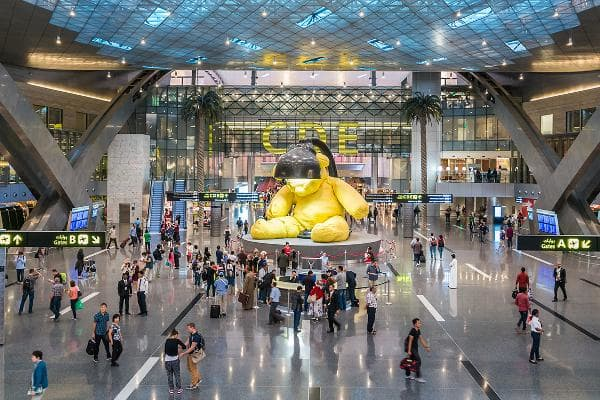 1. Hamad International AirportDoha, QatarOn-Time Performance Score: 8.3 (out of 10)Service Quality Score: 8.5(out of 10)Food and Shops Score: 8.5(out of 10)Hamad International ranks as the best airport in the world. The top threeairports manage to master shopping, punctuality, and outstanding service. Above, the airport's signature giant yellow teddy bear with its head in a lamp, made by Swiss artist Urs Fischer, is made of bronze and celebrates the idea of travel and traveling back in time to the symbols of childhood.Photo: gnoparus / Shutterstock