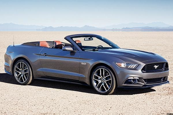 """Starting price: $29,645Miles per gallon: 17 city, 28 highway, 22.5 mpgBack in 2005, when the Mustang was redesigned with a """"retro-futurist look,"""" that was basically an update of the first generation's classic aesthetic. Fans responded instantly. Sales jumped from fewer than 130,000 in 2004 to more than 160,000 in 2005 and 166,500 in 2006. It gave the Mustang line a huge boost just before the Great Recession and prompted Chevy and Dodge to make similar retro tweaks to their Camaro, Charger and Challenger.Ford's softened up that style a bit and gave the 2015 Mustang an overhaul that looks more like a jacked up Ford Fusion than anything else. Still, the Mustang is a brawny little pony that lends itself well to a convertible configuration.Yes, that's 300 horsepower pumping out of that base-level 3.7-liter V6, which makes features like leather racing seats, leather steering wheels covers and high-powered gas headlights not at all ridiculous. However, that 28 miles per gallon on the highway, six-speaker sound system and 4.2-inch touchscreen entertainment and navigation display give it all great features of a practical mid-size without ditching any of the muscle. If you're looking for slightly better mileage, though, the 2.3-liter EcoBoost engine gets highway mileage closer to 30 miles per gallon -- for about $11,000 more."""