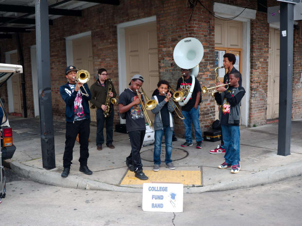 1. LouisianaRisk Score: 66.19 / 100 (the highest)Education/Employment Rank: 1 (the worst)Health Rank: 32Although the state fares well enough in the health category, overall, Louisiana youthare most at risk of adverse outcomes in adulthood.Above, jazz musicians perform on a street corner in New Orleans to collect money for college.