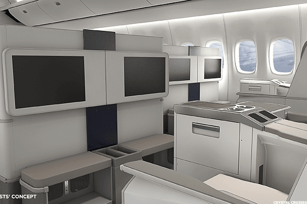 Crystal's air offering provides an exciting new option for its loyal and well-heeled customers.  Inside the plane, which is being customized to meet the Crystal's standards, there will be plush, fully reclining seats, large flat-screen televisions and of course, Crystal's famous butler and concierge services.