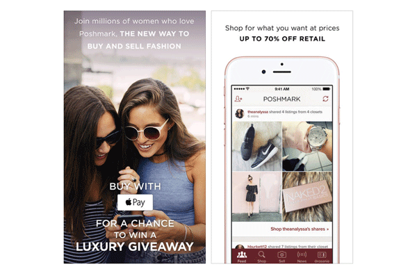"""Available on:iOS and Android devicesCosts: Free to download; Poshmark takes a flat commission of $2.95 for all sales under $15, or a 20% commission for sales of $15 or more; buyers pay a flat rate of $5.95 for shippingWomen's clothing and accessories are the main focus of Poshmark, though you can also buy and sell fashion items for men and kids, too. Users who sign up create a virtual """"closet"""" where they can display items they'd like to sell. In order to create a listing, simply use your phone to snap a photo of the item you want to sell (you can add up to four photos), filter it with one of the app's photo filters, write a short description about the product, and answer a few questions (such as size, color, brand, original price and listing price). When you make a sale on Poshmark, you're provided with a pre-paid, pre-addressed shipping label. Once your sale has been packaged, you can drop it off at a USPS mailbox or schedule a free pickup with USPS.com. You can receive money from your sales via direct deposit to your bank account or request a check.Users looking to buy items on Poshmark can search for specific items, or browse the listings of other """"Poshers"""" they've chosen to follow. Items are sold for up to 70% off the retail price and include designers such as J. Crew, Coach, Michael Kors, Anthropologie and Gucci. You can use your credit card or PayPal to make a purchase, or you can pay for items using any credits you've earned and the redeemable balance from previous sales."""