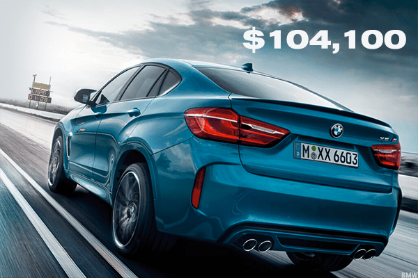 The BMW X6 M comes in at $104,100. With 567 horsepower, the X6 M is one of BMW's so-called sports activity vehicles.