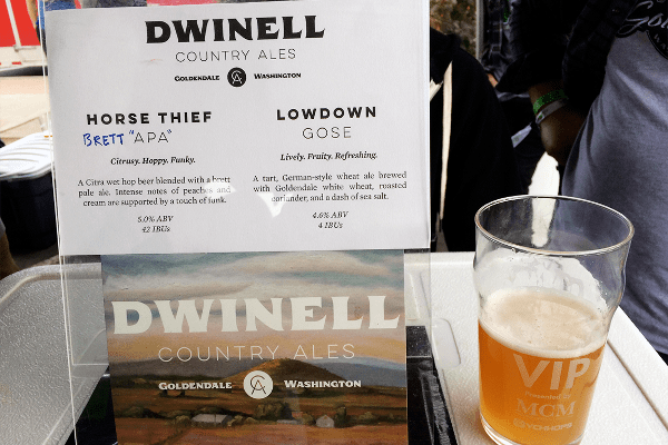 Dwinell Country AlesGoldendale, Wash.Just opened in August by Justin and Jocelyn Leigh, who I'd met during a beer marketing course at Portland State University in February, Dwinell Country Ales fills a rare geographic void for breweries in the Northwest. Goldendale sits above the Columbia River Gorge on land aptly named for its tall, golden grass and sloping hills and valleys. Using orange-and-grapefruit tinged Citra hops, wild yeast from the region and the Brettanomyces bacteria that gives Belgian beer Orval its trademark flavor, this pale ale was more reminiscent of a dry white wine than a pale ale you'd find at a local brewpub, but with just 5% alcohol by volume (ABV). With some slight vanilla backing, peach-and-citrus notes and a hint of grape (which the brewers took full advantage of by brewing a small batch with pinot gris grape must), Horse Thief was one of the most unique fresh-hop offerings I'd sample all day.
