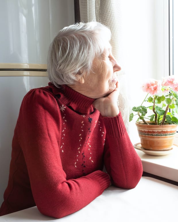 isolated senior retiree woman sh