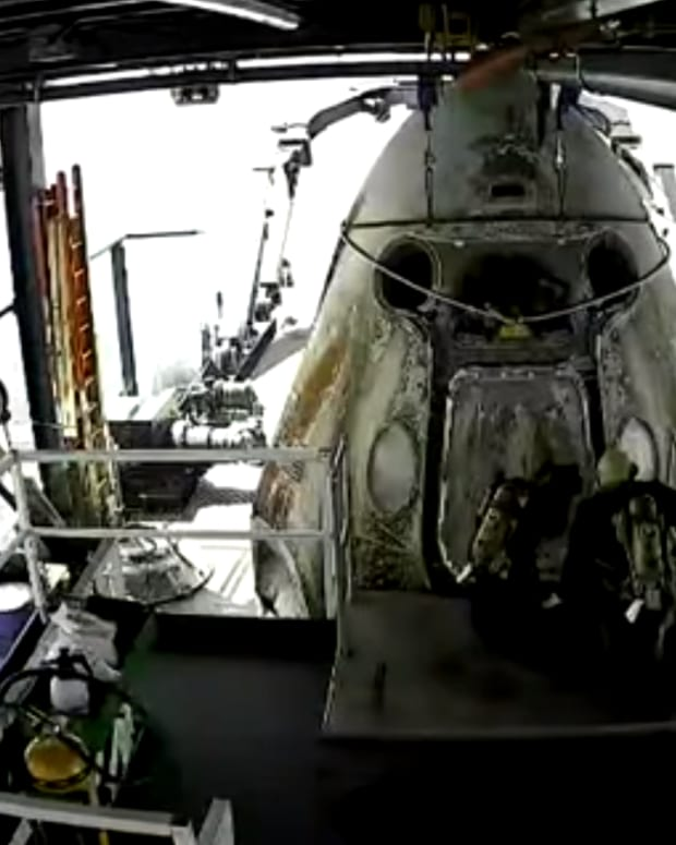Screen grab of video the SpaceX Dragon Crew capsule after making its splash down on Sunday.