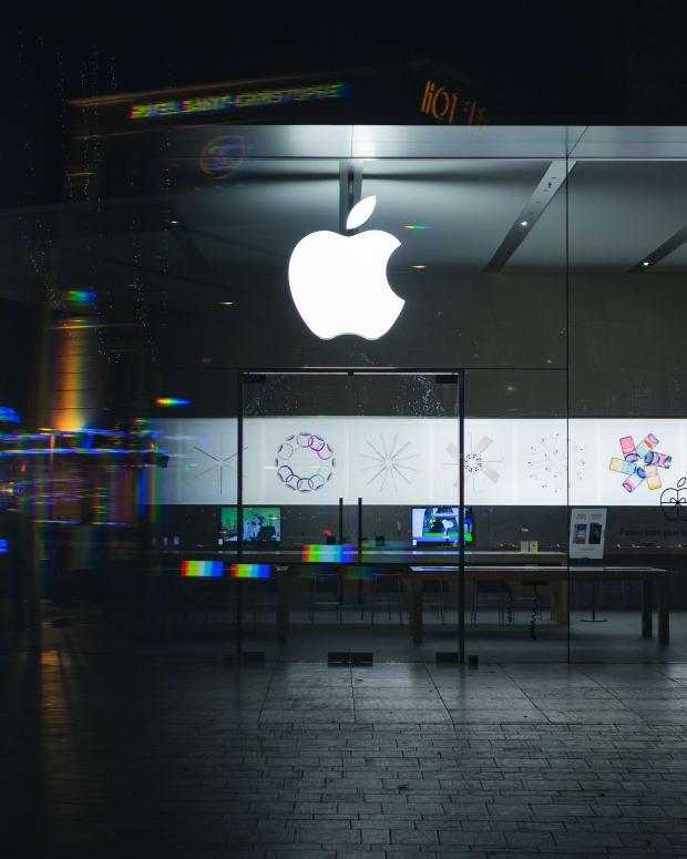 Apple Logo reflected.