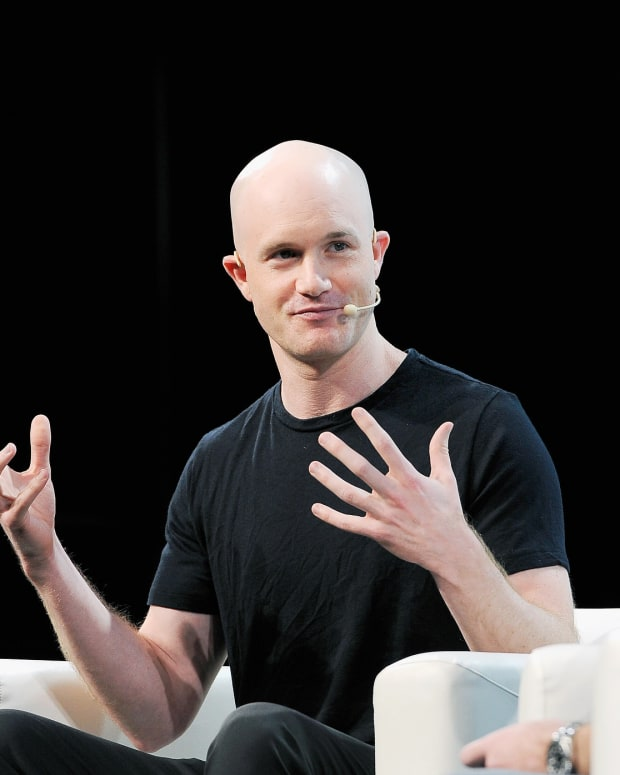Coinbase co-founder Brian Armstrong at Techcrunch Disrupt SF 2018.