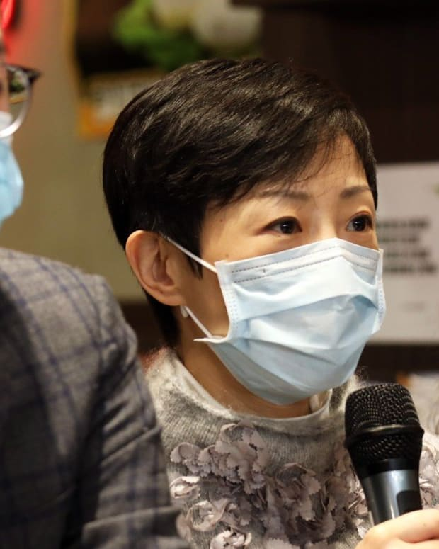 Legislator Tanya Chan speaks a press conference on the coronavirus affect on Hong Kong restaurants. Photo: Xiaomei Chen