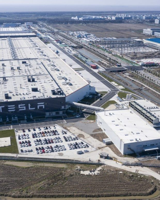 An aerial view of Tesla's Gigafactory 3 in Shanghai on Monday, February 17, 2020. Photo: Bloomberg