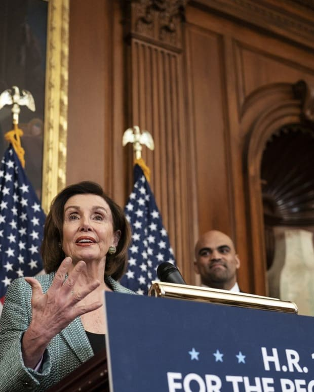Senate Minority Leader Chuck Schumer, left, and Speaker of the House Nancy Pelosi at an event on Capitol Hill in Washington on Tuesday. Photo: AP