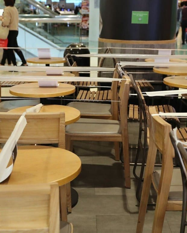Tables cordoned off at a restaurant as part of social-distancing rules. Photo: K.Y. Cheng