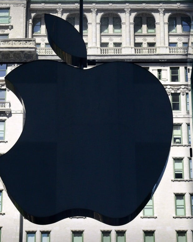 Apple store, large Apple logo on glass wall