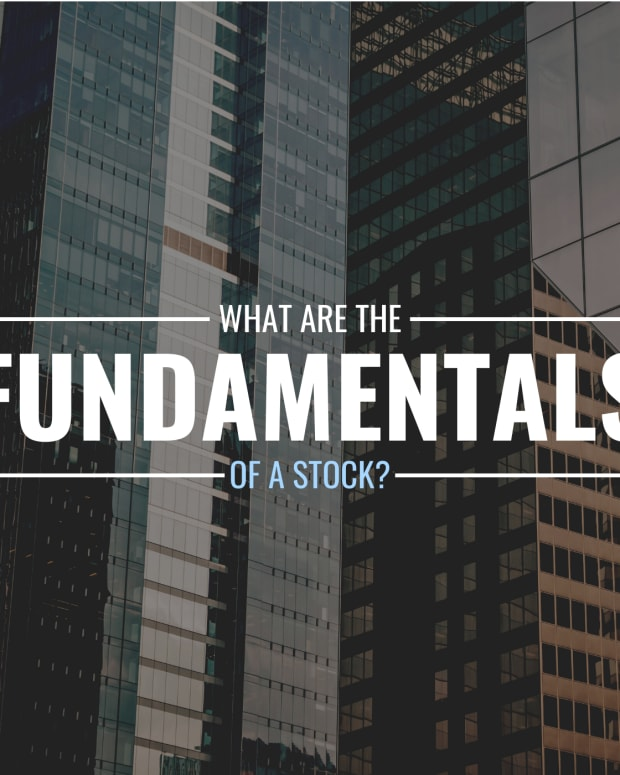 """Photo of glass-sided buildings with text overly that reads """"What Are the Fundamentals of a Stock?"""""""